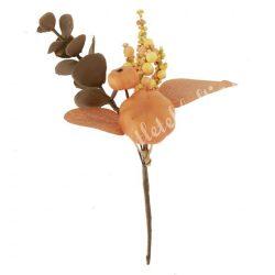 Beszúrós dísz, őszi pick bogyóval, levéllel és tökkel, 12,5x15 cm