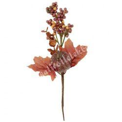 Beszúrós dísz, őszi pick bogyóval, levéllel és tökkel, 14x26 cm