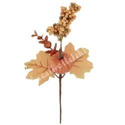 Beszúrós dísz, őszi pick bogyóval, levéllel és tökkel 14x26 cm