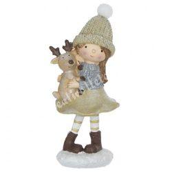 Polyresin kislány bézs sapkában, szarvassal, 5x10,5 cm