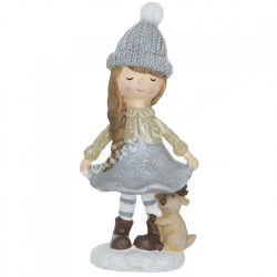 Polyresin kislány szürke sapkában, szarvassal, 5x11 cm