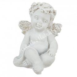 Polyresin angyal, ülő, fehér, 2,5x3,5 cm