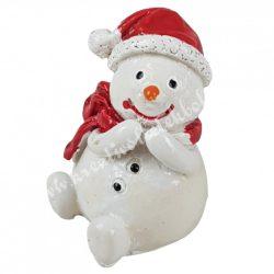 Polyresin hóember, piros sállal, 2,5x,3,5 cm