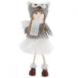 Akasztós textil kislány szürke, baglyos sapkában, hópehellyel, 8x18 cm