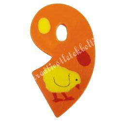Csipeszes szám, 9., narancssárga, 3,5x6 cm