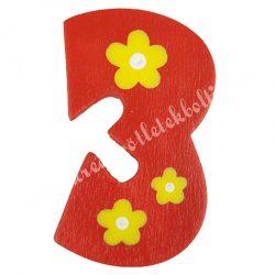 Csipeszes szám, 3., piros, 4x6 cm