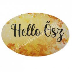 """Dekor tábla, ovális """"Hello Ősz"""" felirattal, 6x4 cm"""