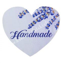 """Dekor tábla, szív alakú, """"Handmade"""" felirattal, 4,5x4 cm"""