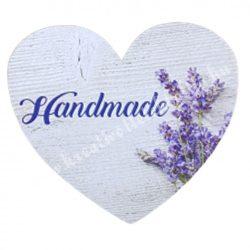 """Dekor tábla, szív alakú, """"Handmade"""" felirattal, 7,5x7 cm"""
