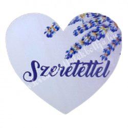 """Dekor tábla, szív alakú, """"Szeretettel"""" felirattal, 4,5x4 cm"""