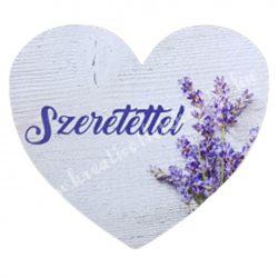 """Dekor tábla, szív alakú, """"Szeretettel"""" felirattal, 7,5x7 cm"""