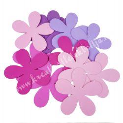 Dekorgumi virág, sikkes, telt, kis méret, rózsaszínes, 12 db