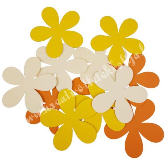 Dekorgumi virágok, sárga-narancs, 9,5 cm