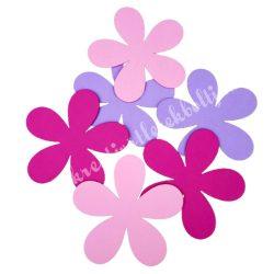 Dekorgumi virág, sikkes, telt, közepes  méret, rózsaszínes, 6 db