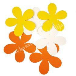 Dekorgumi virág, sikkes, telt, közepes méret, sárgás, 6 db
