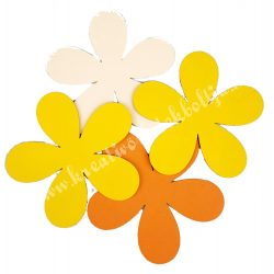 Dekorgumi virág, sikkes, telt, nagy méret, sárgás, 4 db