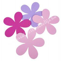 Dekorgumi virág, sikkes, telt, nagy méret, rózsaszínes, 4 db