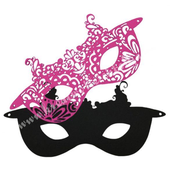 Dekorgumi dupla szemmaszk, csipkemintás,  fekete-pink