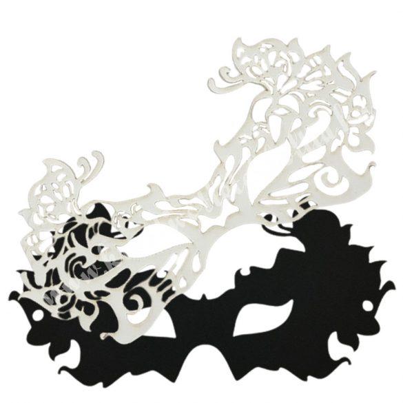 Dekorgumi dupla szemmaszk, pillangós, fekete-fehér