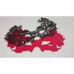 Dekorgumi dupla szemmaszk, pillangós, piros-fekete