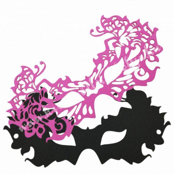 Dekorgumi dupla szemmaszk, pillangós, fekete-pink