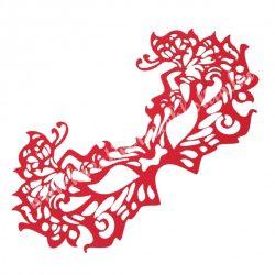 Dekorgumi álarc pillangós, piros