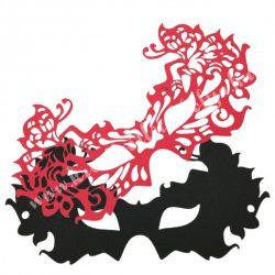 Dekorgumi álarc pillangós, piros dupla
