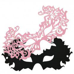 Dekorgumi dupla szemmaszk, pillangós, fekete-rózsaszín