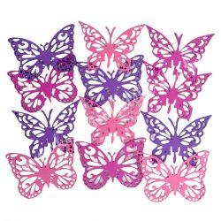Dekorgumi pillangók, rózsaszín-lila, 9 cm