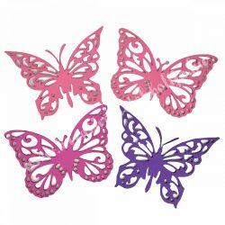 Dekorgumi pillangók, rózsaszín-lila, 19 cm