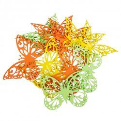 Dekorgumi pillangók, sárga-zöld, 9 cm