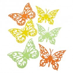 Dekorgumi pillangók, sárga-zöld, 12 cm