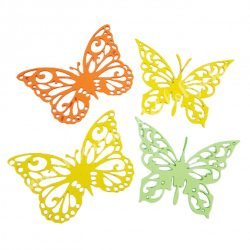 Dekorgumi pillangók, sárga-zöld, 19 cm