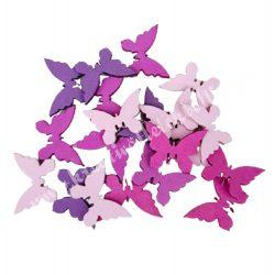 Dekorgumi pillangók, rózsaszín-lila, 2 cm