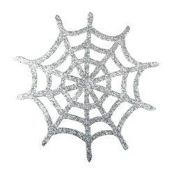 Dekorgumi pókháló, ezüst, csillámos, 20 cm
