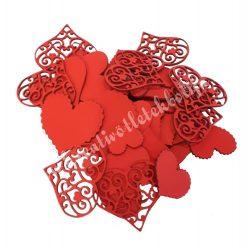 Dekorgumi szív csomagban, vegyes méret, piros