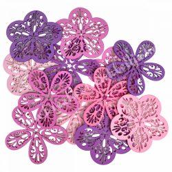 Dekorgumi virágok, rózsaszín-lila, 9 cm
