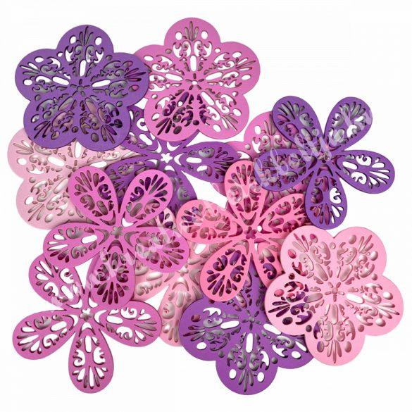 Dekorgumi  virágok csomagban, duci és sikkes forma vegyesen,áttört mintával,rózsaszín árnyalatok, kis méret