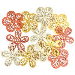 Dekorgumi virágok csomagban, duci és sikkes forma vegyesen, áttört mintával,sárga árnyalatok, kis méret