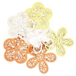 Dekorgumi virágok csomagban,duci és sikkes forma vegyesen áttört mintával,sárga árnyalatok, közepes méret