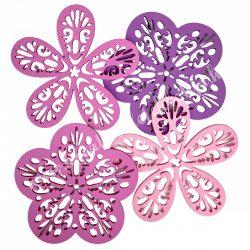 Dekorgumi  virágok csomagban, duci és sikkes forma vegyesen,áttört mintával,rózsaszín árnyalatok, nagy méret