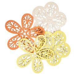 Dekorgumi virágok csomagban, duci és sikkes forma vegyesen,áttört mintával,sárga árnyalatok, nagy méret