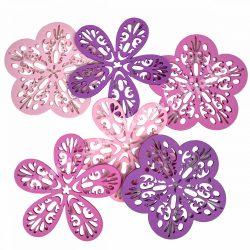 Dekorgumi virágok csomagban,duci és sikkes forma vegyesen, áttört mintával, rózsaszín árnyalatok, közepes méret