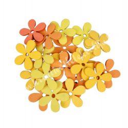 Dekorgumi virágok, sárga-narancs, 2 cm