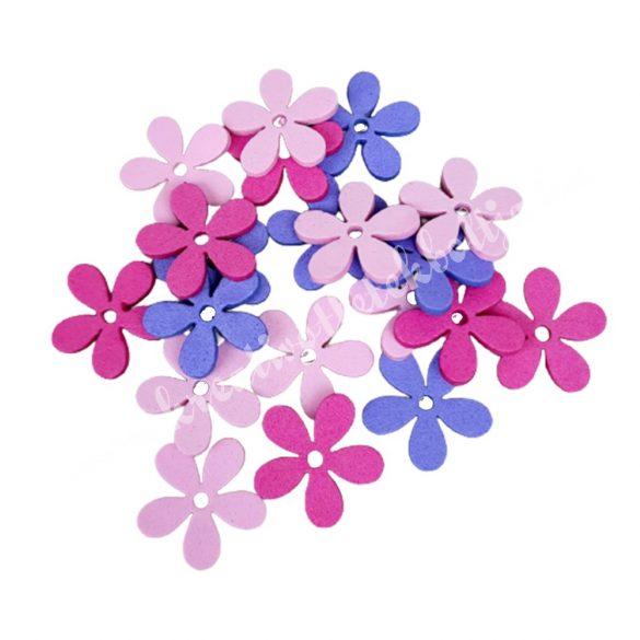Dekorgumi virágok, rózsaszín-lila, 2 cm