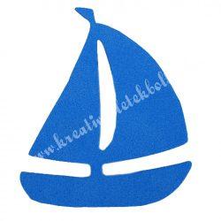 Dekorgumi vitorláshajó, királykék, 5x6 cm