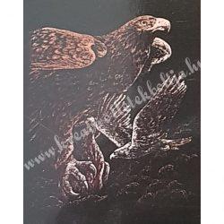 Karckép gravírozó készlet karctűvel, Sasok, réz, 20x25 cm