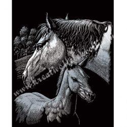 Karckép gravírozó készlet karctűvel, Ló és csikó, ezüst, 20x25 cm
