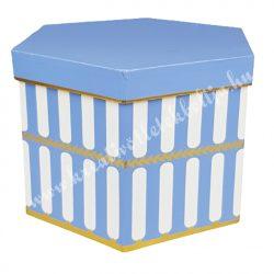Díszdoboz, kék, 6 szögletű, 22x15 cm