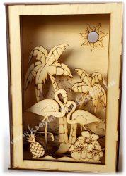3D dekor doboz flamingós